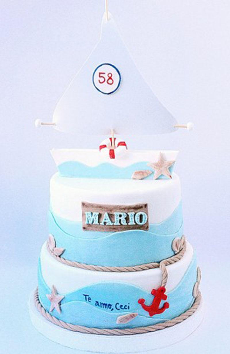 Torta Nautica dos pisos el superior simulado, el inferor de 22cm $1600